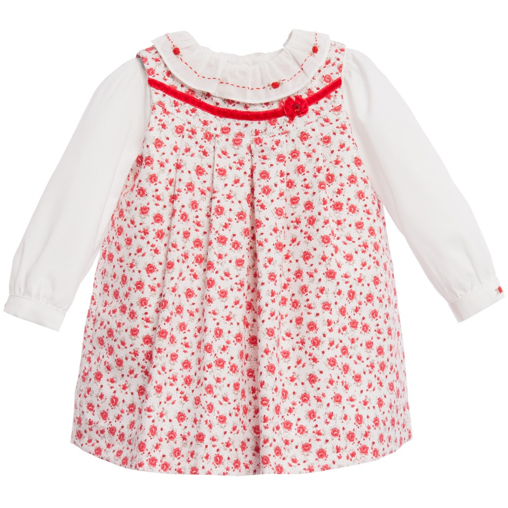 Sarah Louise Red Pinafore Dress Set Baby Boutique Clothing